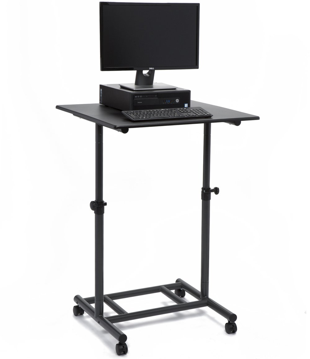 Audio-Visual Direct Ergonomic Adjustable Standing Desk - 31.5'' Wide Single Top Lockable Wheels Easy Adjust Knobs