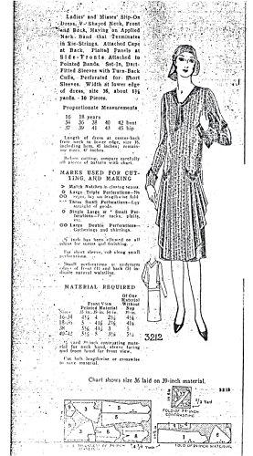 1925-26 Ladies' and Misses' Slip-on V-neck Dress Pattern