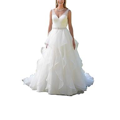 DingDingMail Simple V Neck A Line Wedding Dress Vintage Plus ...