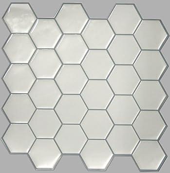 RoomMates TLFLT Carrelage Mural Adhésif Hexagonale Blanc Facile - Carrelage hexagonal blanc