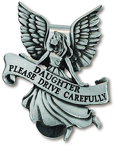 (Daughter Please Drive Carefully Guardian Angel Pewter Car Visor Clip)
