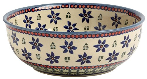 "Polish Pottery Blue Green Floral Mixing Bowl or Serving Dish, Handmade Ceramic, 8""L x 8""W x 3""H"