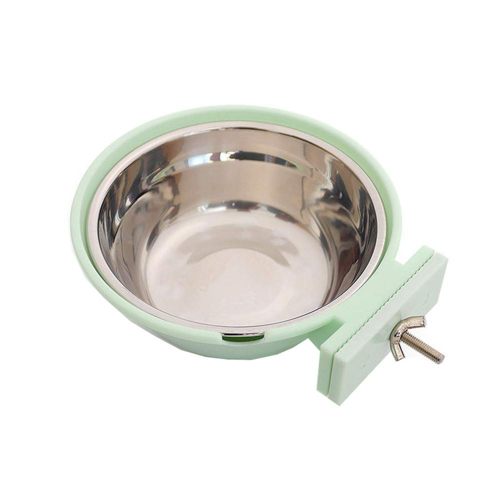 Green FOREVER-YOU Hanging Type pet Bowl Fixed Stainless Steel Dog Bowl Dog Basin cat Bowl Water Basin, Green