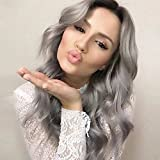 """AISI HAIR Long Ombre Grey Wigs 26"""" Hair Wig Grey Synthetic Wigs For Black/White Women Long Grey Wig Women Female Hairstyle offers"""