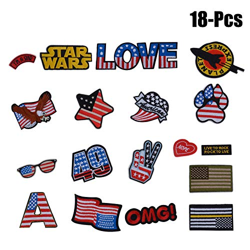 American Flag Patch,Funpa 18 Pcs Iron on Patches Star Wars Patch Dog Paw Patch African American Flag appliques for Jeans T-shirt DIY