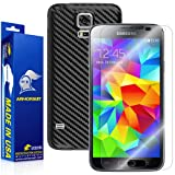 ArmorSuit Samsung Galaxy S5 Black Carbon FIber Skin Wrap + MilitaryShield HD Clear Screen Protector For Galaxy S5