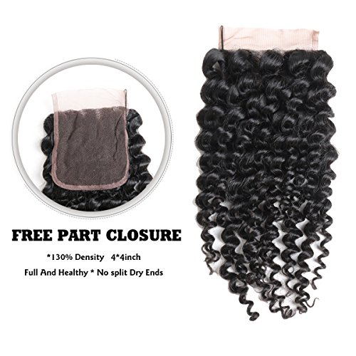 ISEE Mongolian Afro Kinky Curly Hair Closure Virgin Human Curly Hair 4x4 Lace Closure Free Part Hand Tied (16inch Closure) by ISEE