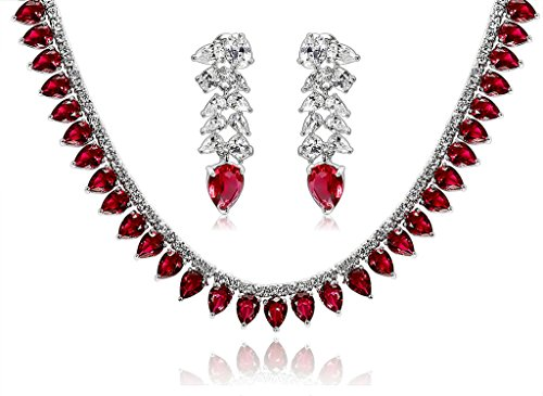 Epinki Silver Plated Jewelry Set, Wheat Drop Cubic Zirconia Red Wedding Necklace And Earrings Set by Epinki