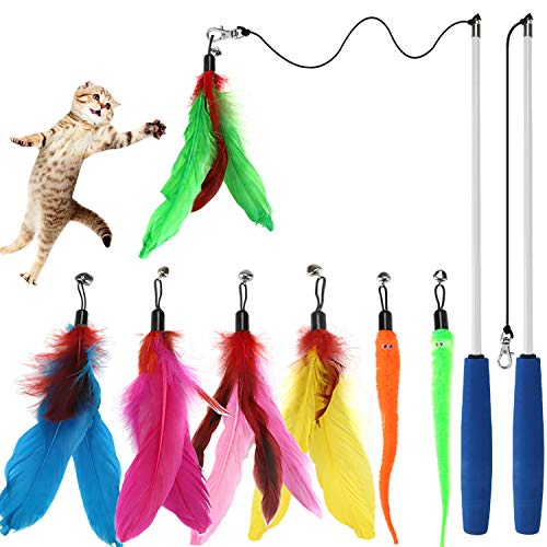 (Cat Toys Interactive Cat Feather Wand, Kitten Toys 2pcs Retractable Cat Wand Toy & 7pcs Natural Feather Teaser Replacements with Bell, Telescopic Cat Fishing Pole Toy for Indoor Kitty Old Cat Exercise)