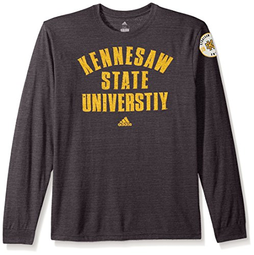 adidas NCAA Kennesaw State Owls Men's Heritage Tri-Blend Long Sleeve Tee, Small, Black Heathered (Owls Basketball)