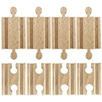 Set of 8 Male-Male Female-Female Wooden Train Track Adapters, Fits All Major Brands by Conductor Carl