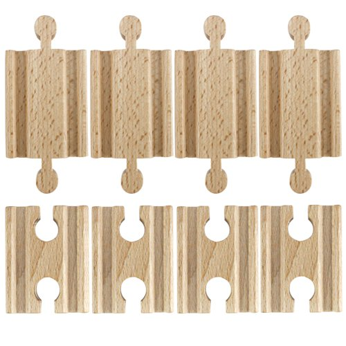 (Set of 8 Male-Male Female-Female Wooden Train Track Adapters, Fits All Major Brands by Conductor Carl)