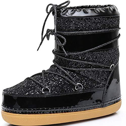 Shoe'N Tale Women's Waterproof Ankle Winter Sequins Snow Boots (5 M US, Black) (Winter Boots Moon Snow)