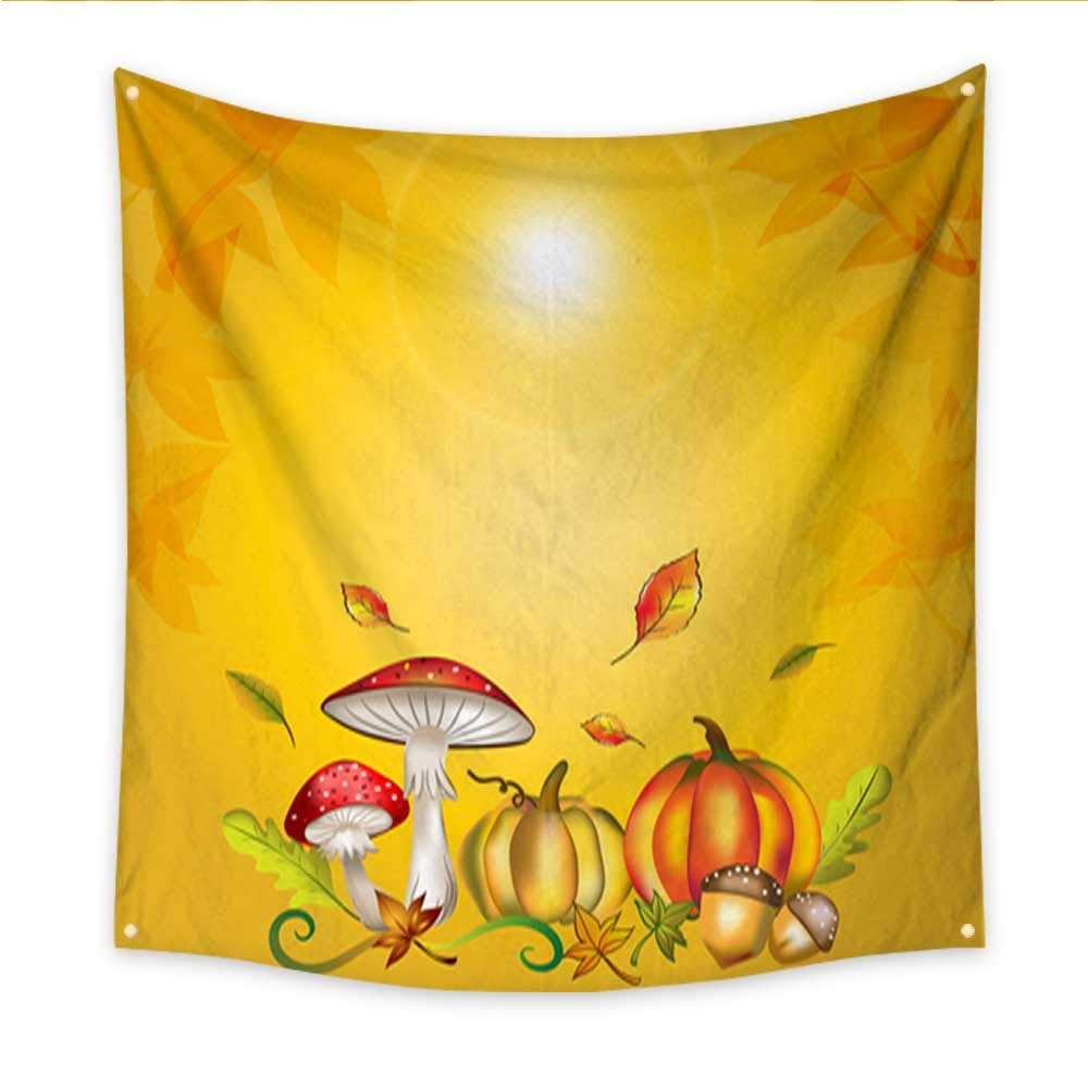 Wall Hanging Tapestry Autumn and fall seasonal background with cartoon vector and illustration of mushroom pumpkins maple falling leaves oak seed and vines Blanket Home Room Wall Decor 70W x 70L Inch