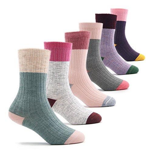 Toddler Girls Wool Socks Kids Warm Socks Winter Thermal Crew Socks 6 Pack 1-3 Years