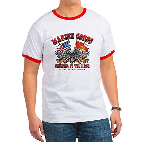 Royal Lion Ringer T-Shirt Marine Corps Semper Fi 'Til I Die - Red/White, Small