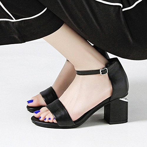 Ankle Mid Mid Party Black Block For Sandals Womens Evening Dress Strap Sandals Heel Leather Toe Low hollow Open awSSxTvq8I