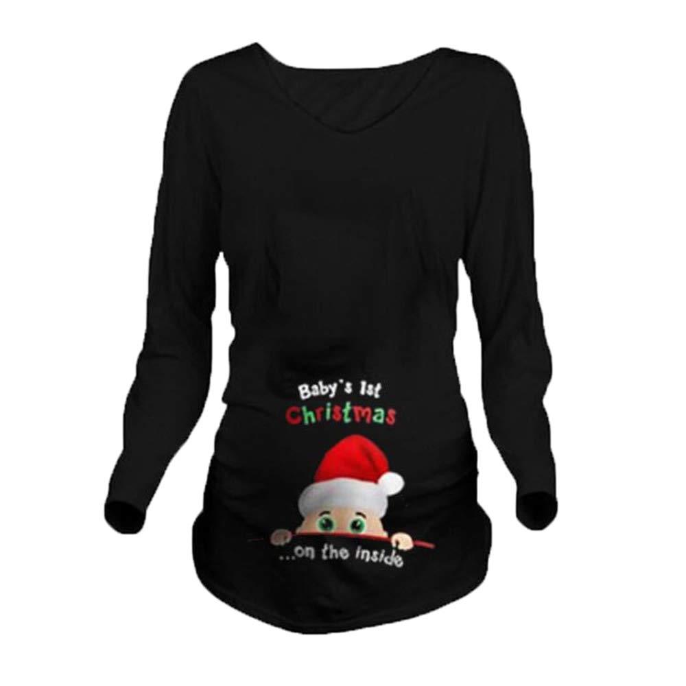 hellomiko Pregnancy Women Cute Funny Christmas Baby Printed T Shirt