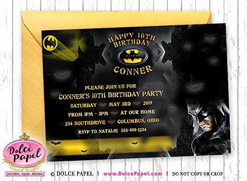 10 Graphic Batman Gotham City Black and Yellow Birthday Party Invitations ANY AGE Custom ()