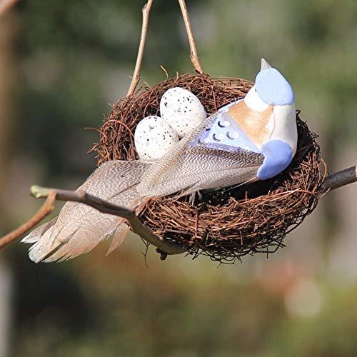 Ornaments Artificial (lwingflyer Artificial Simulation Foam Birds Nest Eggs Decor Feather Birds Craft DIY for Home Ornaments Wedding Decoration Party Accessories(1, Blue))
