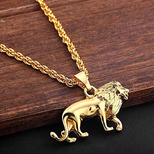 Hip Hop Mens Sweater Chain Necklace Gold Plating Lion Necklace Pendant