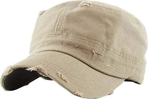 H-217-D13 Distressed Womens Mens Vintage Military Style Army Cadet Hat - (Vintage Army Hat)