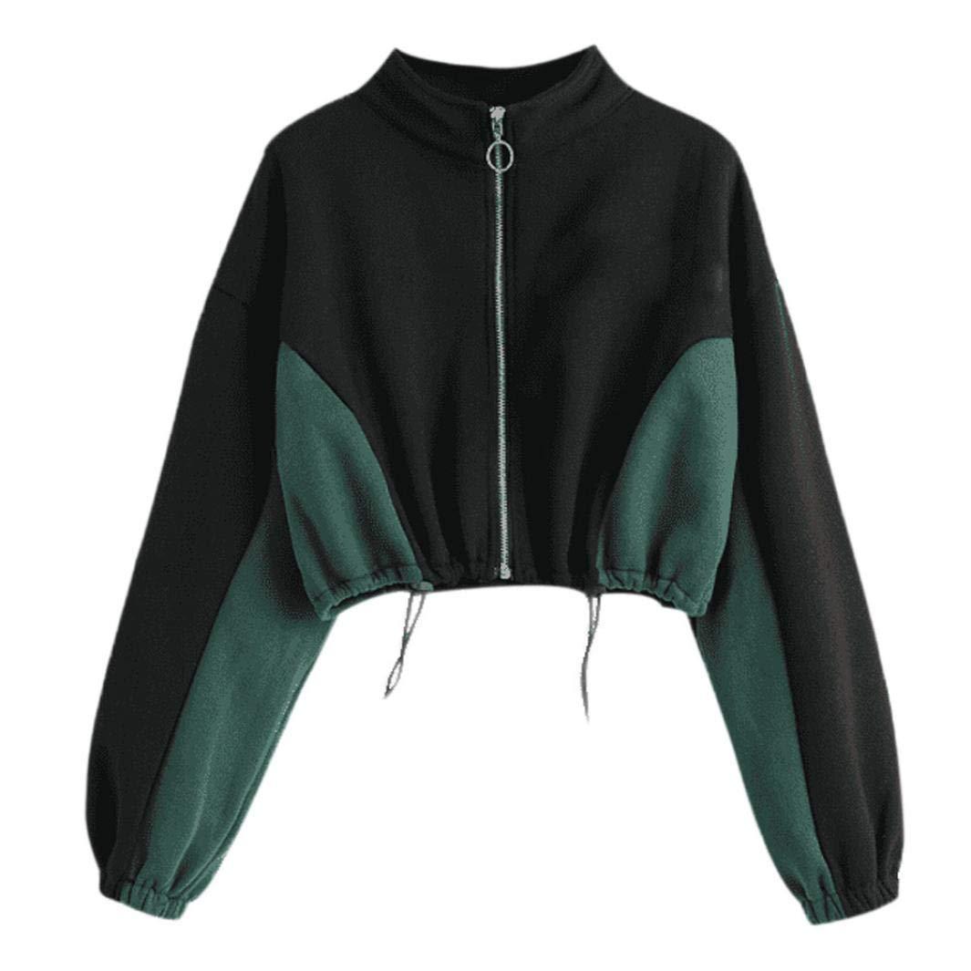 Women Loose Round Neck Zipper Sweatshirt Long Sleeve Short Top Pullover Blouse (Black, US:8) by Kinrui Women's Hoodies & Sweatshirts