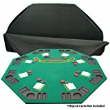 This octagon shaped folding Blackjack table is perfect just about any table. It is great for easy storage and carrying as it comes with a 2 strap black vinyl zipper case. The table features built in cup holders and chip racks for each of the 8 player...