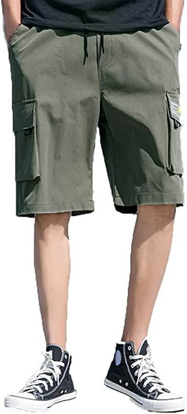 Mens Premium Cargo Shorts Casual Outdoor Loose Fit Drawstring Quick Dry Pants