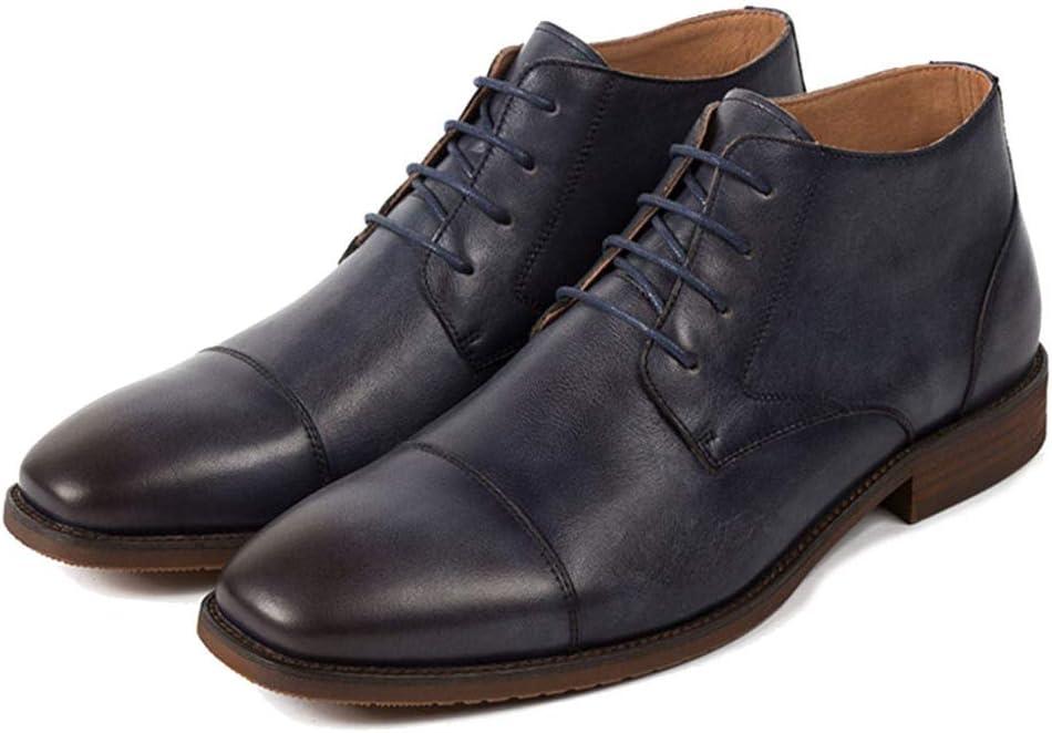 MERRYHE Botines De Punta Cuadrada para Hombre con Cordones Cepillos De Cuero Derby Botas De Trabajo Ocasional del Desierto Zapatos De Trabajo De Calzado De Vaquero Vestido Formal