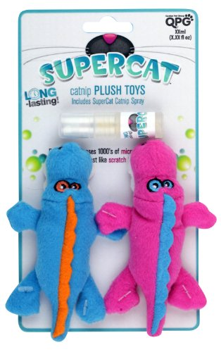 Super Catnip Spray (SuperCat Gator Plush Duo Toy with Play Activated Catnip Spray, Pink and Blue)