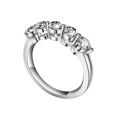 (personalizada anillo) Adisaer plateado anillos para las mujeres boda bandas grabado 5 Link circonitas