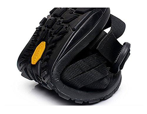 AGOWOO Womens Buckle Ankle Strap Flat Walking Beach Sandals Black T1uqj8Wi9e