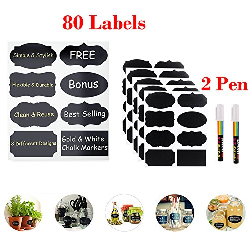 Chalkboard Labels 80 Pack Complete Bundle More Safe Large Reusable Chalkboard Stickers Kit Complete Any Other Storage Message Labels for Your Home Office Kitchenwith Smooth Liquid Chalk Pen2 Photo #2
