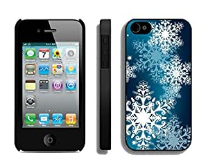 Iphone 4S Case,Dream White Christmas Snowflake Silicone Black Case For Apple Iphone 4/Iphone 4s Cover Case