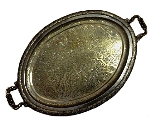 Engraved Silver Plated Oval Antique - Antique Traditional Moroccan Engraved & Carved Silver Plated Serving Oval Tray