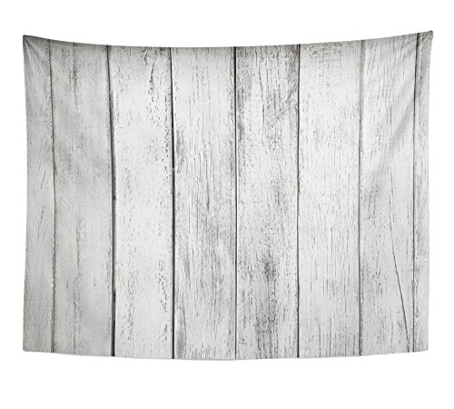 Emvency Tapestry Gray Rustic White Plank Wood Table Abstract Aged Architecture Board Building Home Decor Wall Hanging 60'' x 80'' Inches Print for Living Room Bedroom Dorm by Emvency (Image #1)