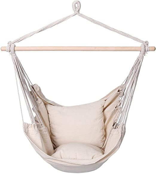 Finether Padded Hammock Hanging Chair Swing Pillow Set Indoor Outdoor Use 265 Lbs Weight Capacity Beige Amazon Ca Patio Lawn Garden