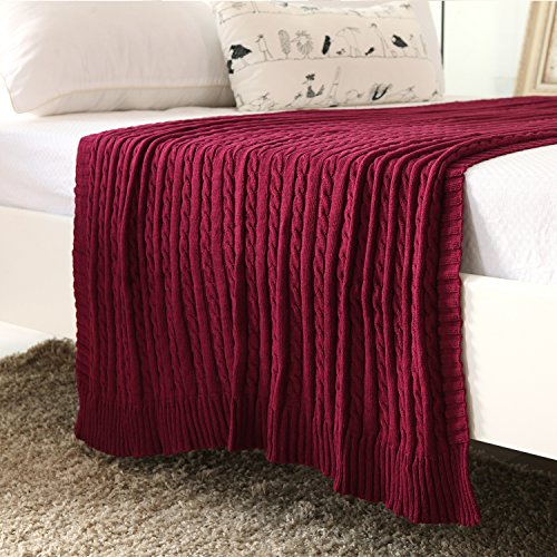 iSunShine® Cotton Knitted Cable Throw Soft Warm Cover Blanket Cable (Chenille Waffle)