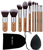 BS-MALL(TM) Premium Synthetic Bamboo Blush Foundation Eyeshadow Eyeliner Bronzer Makeup Brushes Sets Plus 1 Piece Makeup Sponges