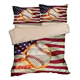 Abstract American Flag Baseball Cotton Microfiber 3pc 104''x90'' Bedding Quilt Duvet Cover Sets 2 Pillow Cases King Size