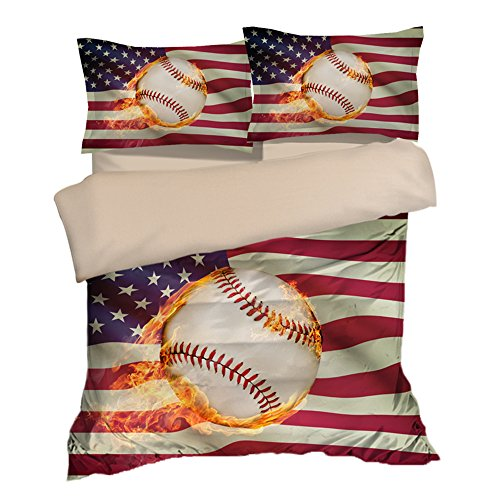 Abstract American Flag Baseball Cotton Microfiber 3pc 104''x90'' Bedding Quilt Duvet Cover Sets 2 Pillow Cases King Size by DIY Duvetcover