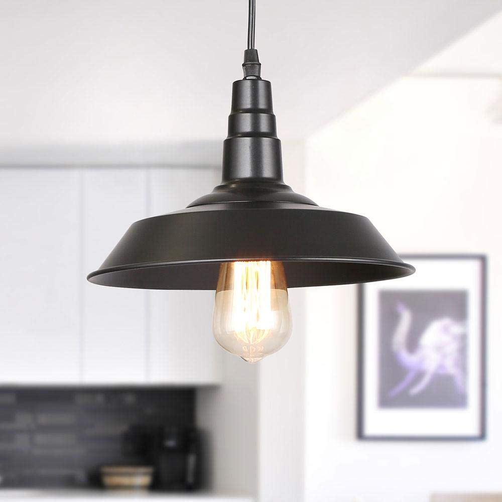 Lighting, LNC Pendant Lighting 10 Inch Iron Indoor Pendant Light with Paint Baking Finish, Adjustable Hanging Length, UL Certification for Kitchen, Bar Counter, Dining Room -A0190701