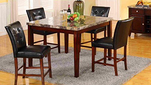 Mega Furnishing Home Kitchen Dining Bar table (false marble) with aristocratic leather bar chair 5PC