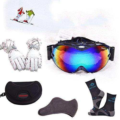 SE7VEN Ultra Wide-ange Sphérique Ski Goggles,Équipement De Plein Air Ski Lentille Double Couche Anti-buée Lunettes Myopie Compatible Unisexe Snowboard Goggle M