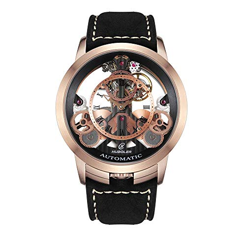 Huboler Men's Watch Skeleton Automatic Mechanical Stainless Steel Wrist Watches with Leather Strap (Model: 748) (Gold Black)