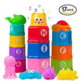 Markkeer Stacking Cups Early Educational Toddlers Toy Baby Bath Toys Set Bathtub Toys Numbers & Rubber Animals BPA Free 0 1 2 3 4-5 Year Old Boys Girls(17 Pack)