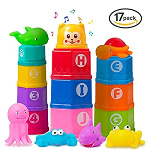 Markkeer Stacking Cups Early Educational Toddlers Toy Baby Bath Toys Set Bathtub Toys with Numbers & Rubber Animals BPA Free for 0 1 2 3 4-5 Year Old Boys and Girls(17 Pack)
