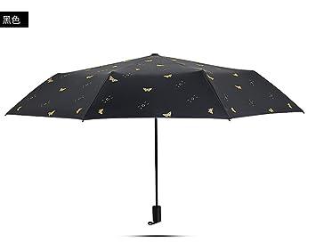 Huihong Paraguas/sombrilla Protección UV Sol Paraguas Ligero Personalidad Dama Paraguas, Negro