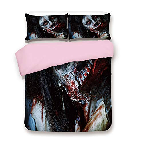 Pink Duvet Cover Set/Queen Size/Scary Dead Woman with Bloody Axe Evil Fantasy Gothic Mystery Halloween Picture/Decorative 3 Piece Bedding Set with 2 Pillow Sham/Best Gift For Girls Women/Multicolor]()